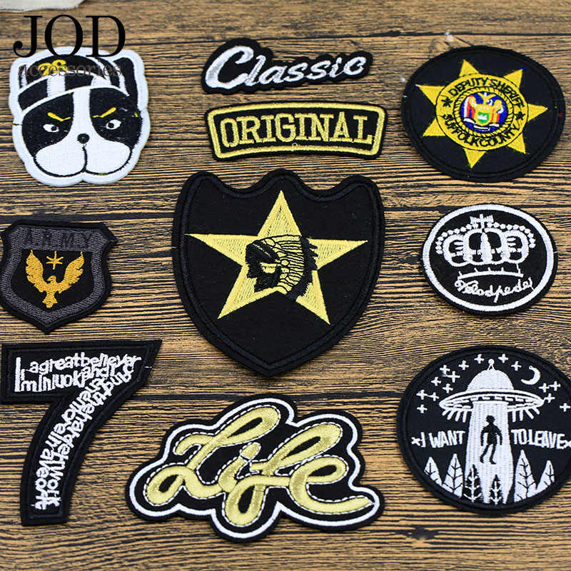 JOD Badge Dog Ironing Applications for Clothes Patches Punk Thermo Adhesive Bikers Sewing Embroidery Patch for Tops Clothing