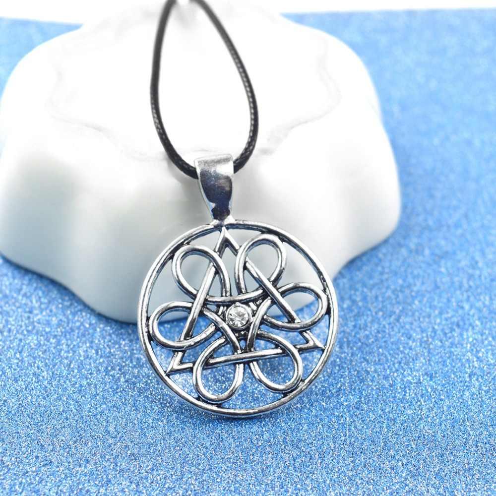 Koło życia urok naszyjnik kobiety Amulet CZ kryształ mężczyzn biżuteria w stylu Vintage słowiański wisiorek srebrny czarny skórzany naszyjnik Bijoux