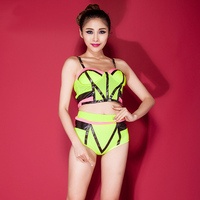 Women Sexy Shorts Sets Dance Uniforms Fluorescence Patchwork Strapless Costumes Crop Top Suit 2 Piece 2016