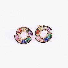 3Pair Gold Filled New Colorful Zirconia Girl Women earring circle rainbow cz Studs