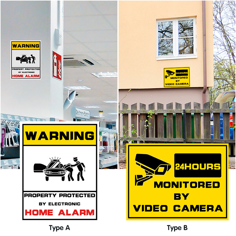 1pcs Waterproof Home CCTV Video Surveillance Security Camera Security Home Alarm Sticker Warning Decal Signs-in Warning Tape from Security & Protection