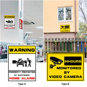 Decal-Signs Alarm Sticker Surveillance-Security-Camera Cctv-Video Warning Waterproof