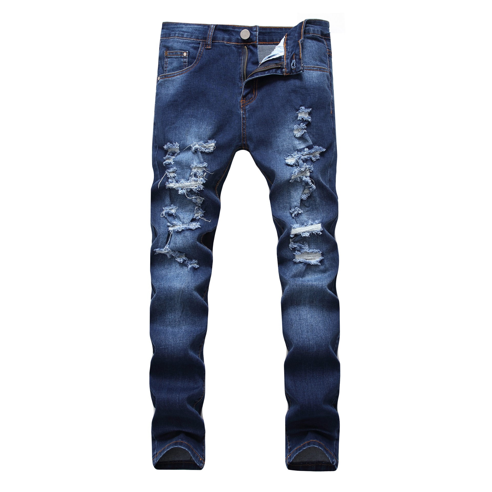 New 2018 Man ripped jeans mens clothing worn more elastic dark denim trousers hot style  ...