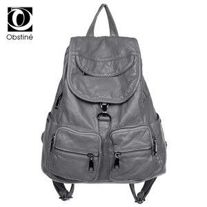 Image 1 - Рюкзак из мягкой потертой кожи для девочек, водонепроницаемый винтажный большой Многофункциональный модный ранец для женщин