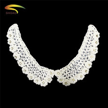 Pearl Beaded Neckline Collar Embroidery  Appliques dress  With Rhinestone For DIY Dress Shirt Collar 5 pcs цена 2017
