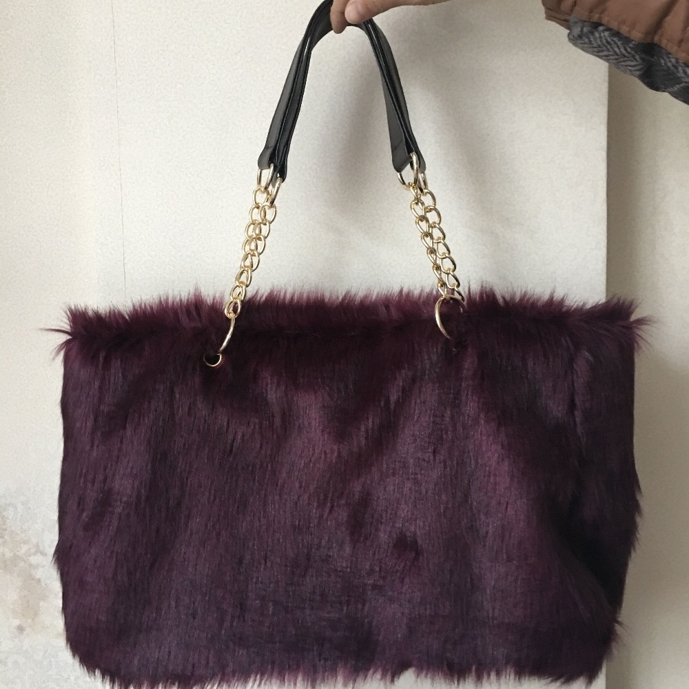 Detail Feedback Questions about Winter Faux Fur Handbag Women ... f3774443b22b3