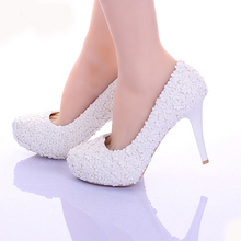 White Lace Flower Formal Dress Shoes Comfortable Bridesmaid Shoes Women Spring Bridal Wedding Shoes Girl Birthday Prom Shoes
