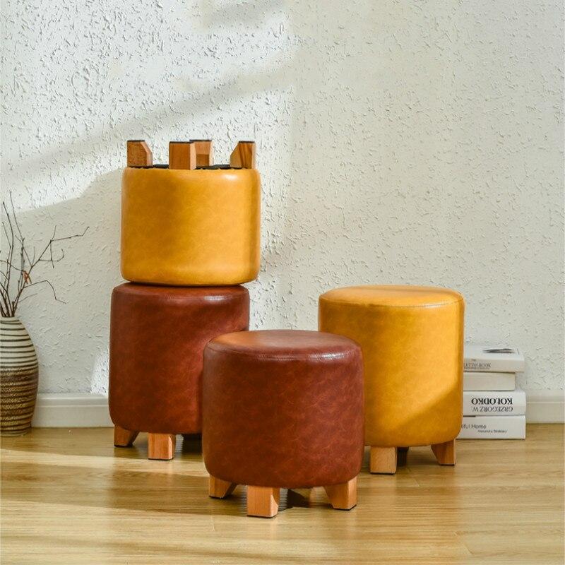 Banqueta de couro de madeira maciça sofá banqueta personalidade moda vestir banqueta criativo sapatos bancada