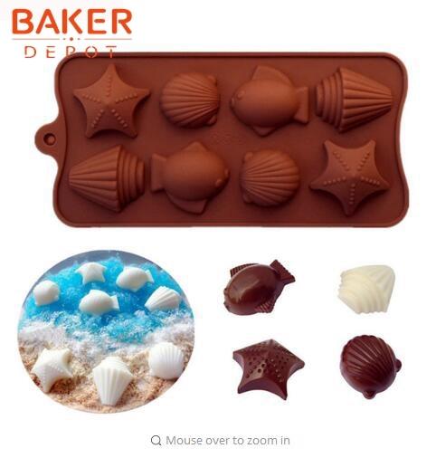 Ikan bentuk kue silikon bakeware, Kue cetakan, Kerang cetakan coklat, Buatan tangan cokelat es batu cetakan, Permen diy ...