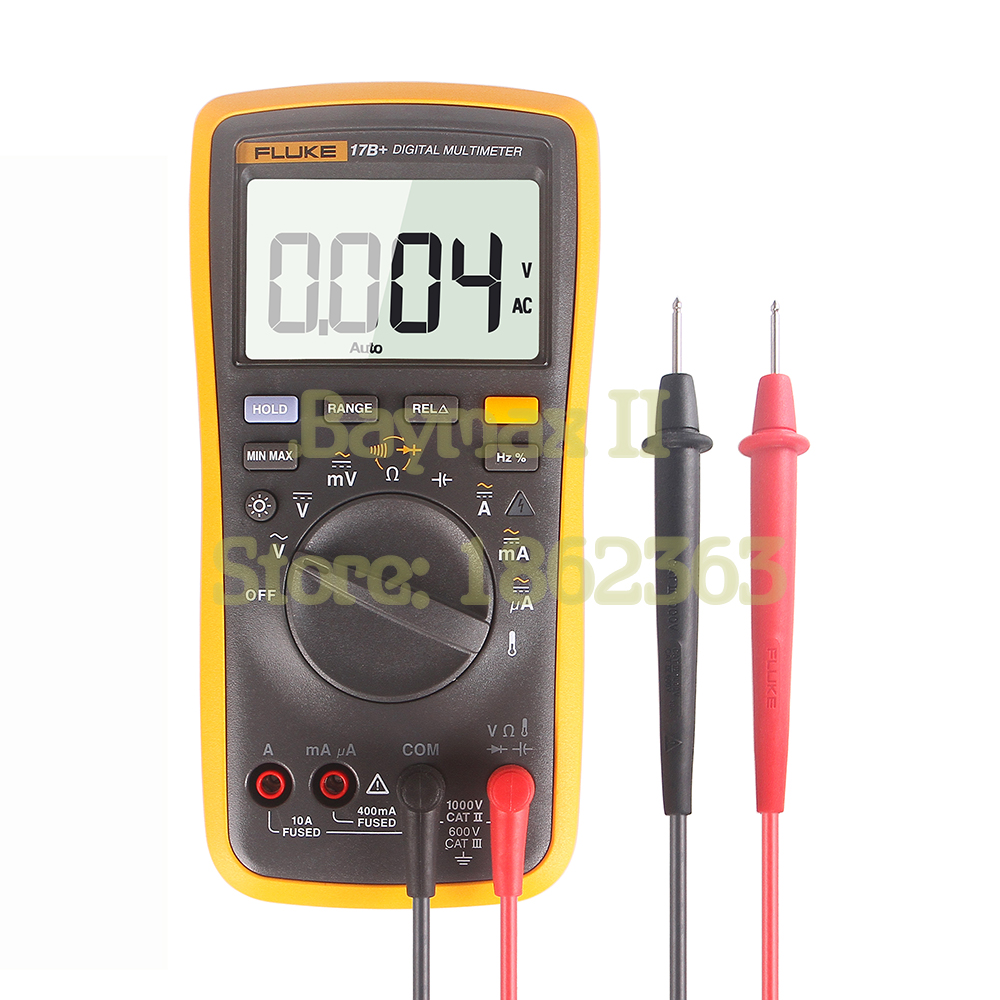 FLUKE 17B + AC/DC напряжение, ток, емкость, Ом Авто/ручной Диапазон Цифровой мультиметр с измерением температуры