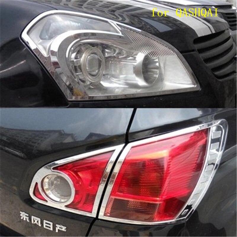 Haute qualité ABS Chrome avant phare lampe couvercle arrière phare lampe couverture pour Nissan QASHQAI 2007-2013 voiture style