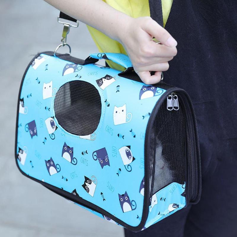 Portable Cartoon Pet Carrier Outdoor Travel Dogs Cats Bag Foldable Shoulder Bags Handbag Dog Basket Carrying Bags Pets Supplies