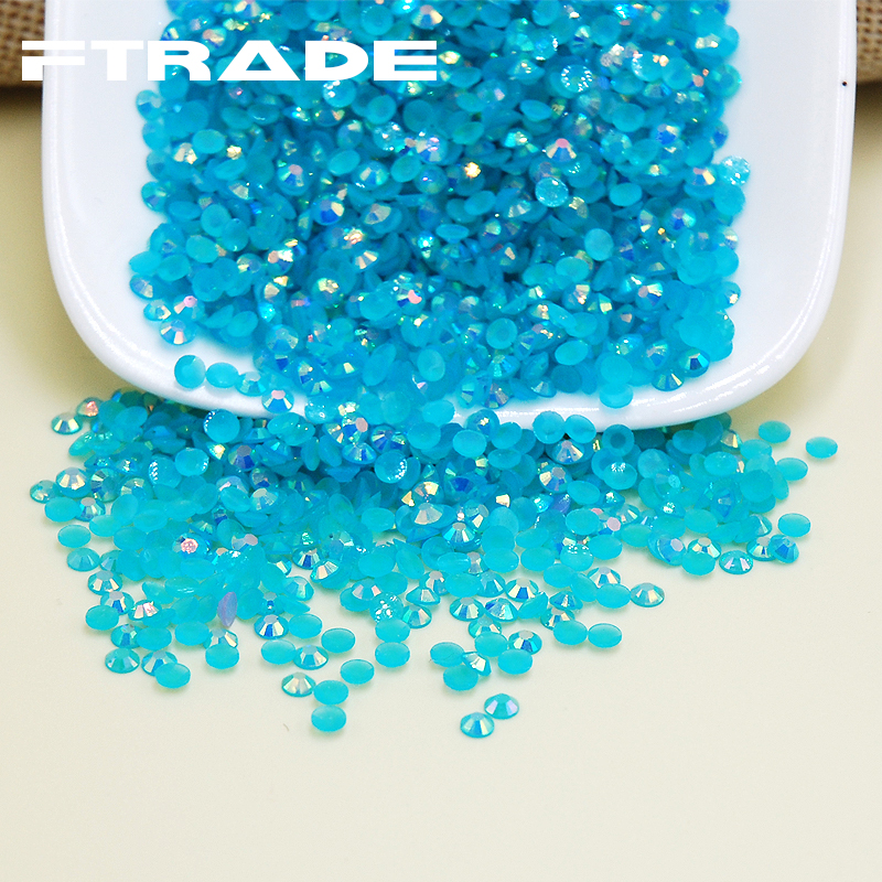 Hot Nail Art Rhinestones Jelly AB Aquamarine Color Flat Back Non Hotfix Stones Strass Jewelry DIY Nails Decoration