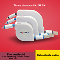 1m 2m 3m Retractable data cable For Android charging cable For Samsung s4 s5s6 s7 edge Xiaomi Vivo LG  g3 G4 and android phone