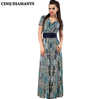 CINQ DIAMANTS Women Maxi Boho Dress Print Summer Sundress Holiday Beach Long Dress Vestidos Mujer Party