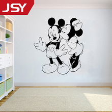 Jiangs Yu 1 PC Mickey And Minnie Mouse Kissing Wall Stickers Cartoon PVC Sticker Kids Room Decals