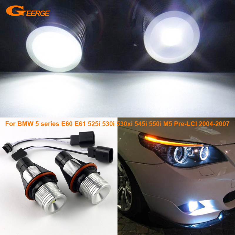 For BMW 5 series E60 E61 525i 525xi 530i 530xi 545i 550i M5 Pre-LCI 2004-2007 Excellent Quality LED Angel Eye Light bulb free shipping cree white no obc 9006 led fog light bulb for bmw e60 bmw 5 series 2003 2007