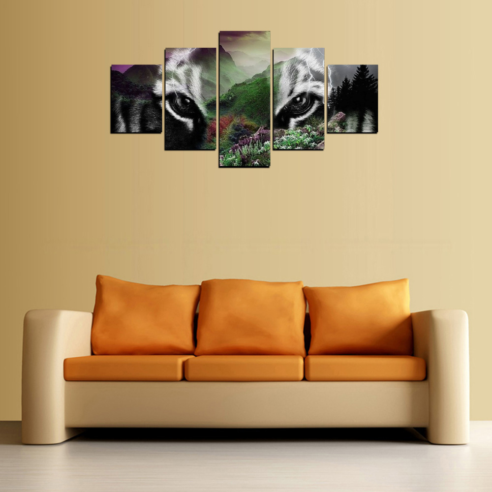 5 Panels Tiger Head Mountain Canvas Prints for Living Room Wall Art ...