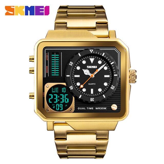 למעלה יוקרה Mens שעונים SKMEI מותג ספורט דיגיטלי קוורץ שעון גברים נירוסטה רצועה עמיד למים אופנה מזדמן שעון זכר