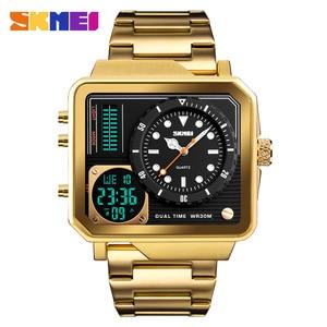 Image 1 - SKMEI relojes deportivos de cuarzo Digital para hombre, correa de acero inoxidable, resistente al agua, informal