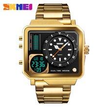 Top Luxe Heren Horloges SKMEI Merk Sport Digitale Quartz Horloge Mannen Roestvrij Stalen Band Waterdicht Fashion Casual Klok Mannelijke