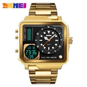 Image 1 - Top Luxe Heren Horloges SKMEI Merk Sport Digitale Quartz Horloge Mannen Roestvrij Stalen Band Waterdicht Fashion Casual Klok Mannelijke