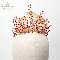 Handmade Red Rhinestone Brides Tiaras Crowns Gold Leaf Bridals Hairbands Headpieces Wedding Dress Accessories