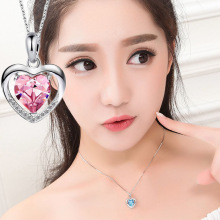 Fashion Jewelry My Heart Forever Pendant Necklace Heart Shape Lady Set with Crystal Elements Necklace For Women Cross Wholesale цена 2017