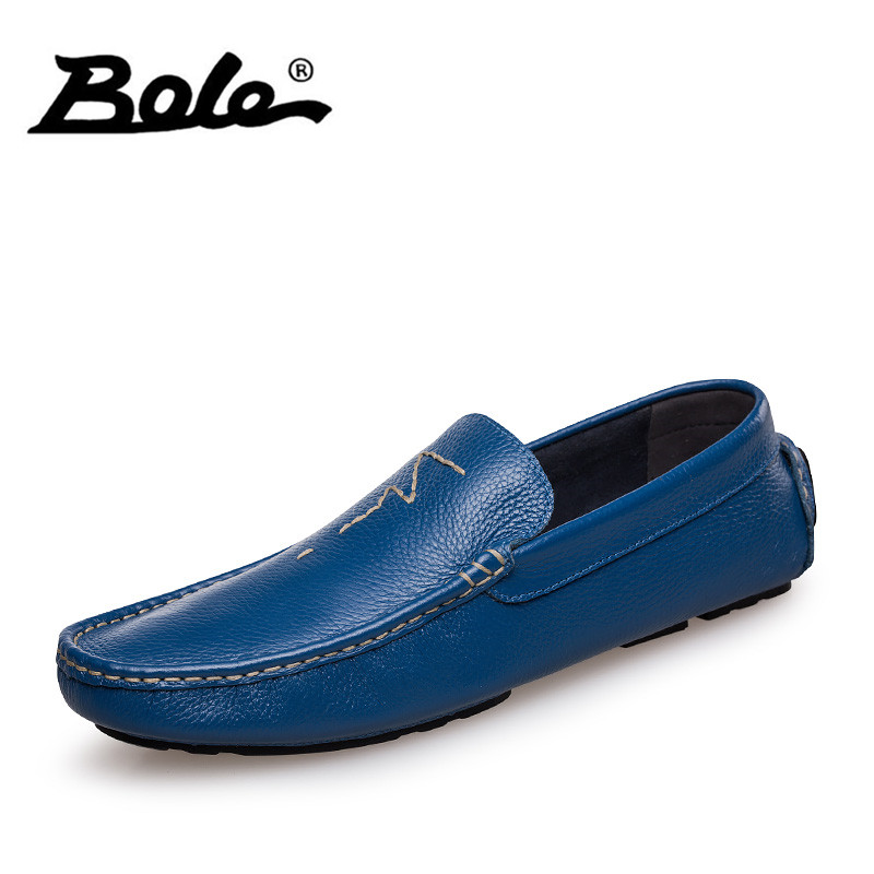 BOLE Fall New 36-47 Big Size Handmade Causal Leather Men <font><b>Shoes</b></font> Fashion Design Slip on Comfort Men Driving <font><b>Loafers</b></font> <font><b>Shoes</b></font> Men Flat