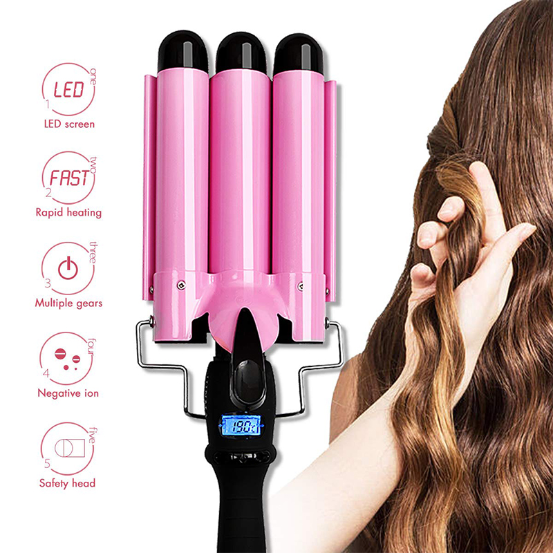 CHJ Curling Iron Triple Barrel Hair Curler Deep Wave 32mm LCD Three Tube Curling Iron Big Wave Curling Tongs Hair Curling IronCHJ Curling Iron Triple Barrel Hair Curler Deep Wave 32mm LCD Three Tube Curling Iron Big Wave Curling Tongs Hair Curling Iron