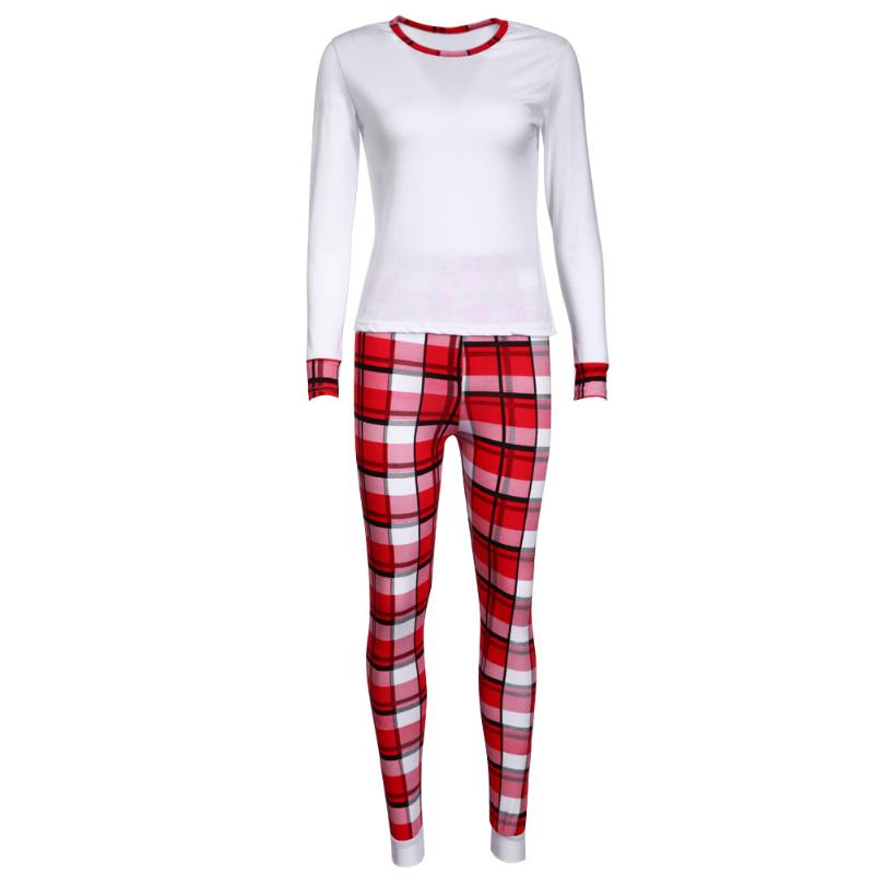 Family Christmas Pajamas Baby Stripe Romper Family Matching Clothes Long Sleeve T-shirt+Plaid Pants 2pcs Family Look Set for Mom