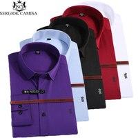 Sergio K Camisa Men Shirt Casual Long Sleeved Shirt Slim Fit Male Social Business Dress Shirt