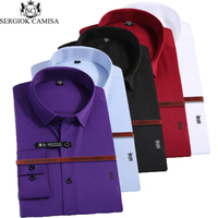 Sergio K Camisa Men Shirt Casual Long Sleeved Shirt Slim Fit Male Social Business Dress Shirt