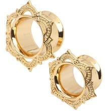 Fashion Copper Brass Ear Plugs Tunnels Flared Gold Piercing Body Jewelry Ear Gauges 8mm to 16mm 60pcs