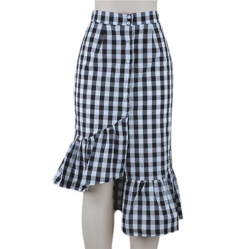 New Fashion 2018 Summer style skirts womens Plaid Casual Ruffled Button Party Slit High Waist Mid-Calf Skirt Femme Saia Y18#N (10)