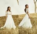 Bohemian Two Pieces Wedding Dress with Lace Bolero Crop Top Bridal Gowns Vestidos de Novia 2017 Summer Beach Wedding Dresses
