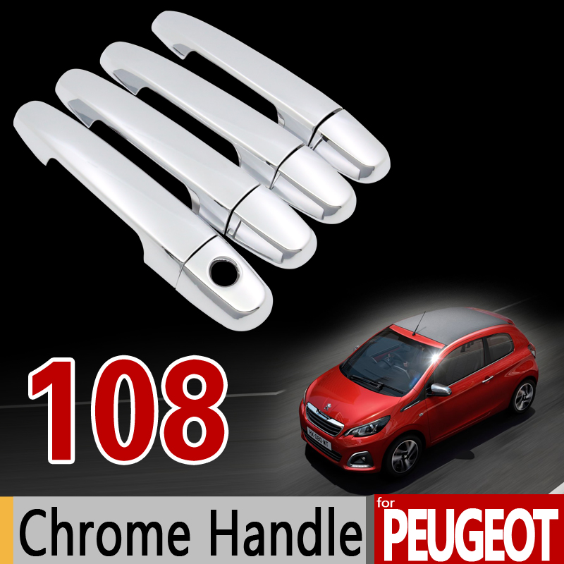 for Peugeot 108 Chrome Handle Cover Trim Set for 2Dr 4Dr 2014 2015 2016 2017 2018 All Model Accessories Stickers Car Styling xkai 14pcs 6 19mm ratchet spanner combination wrench a set of keys ratchet skate tool ratchet handle chrome vanadium
