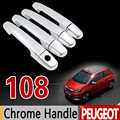 for Peugeot 108 Chrome Handle Cover Trim Set for 2Dr 4Dr 2014 2015 2016 2017 2018 All Model Accessories Stickers Car Styling