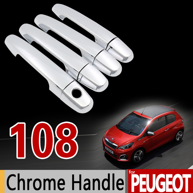 for peugeot 108 chrome handle cover trim set for 2dr 4dr 2014 2015