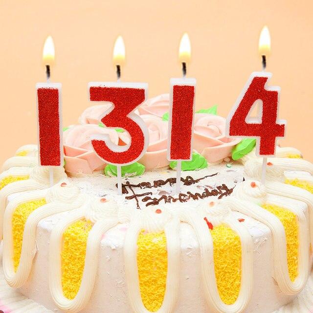 Online Shop Birthday Candles Gold Sliver Pink Number 0 1 2 3 4 5 6 7