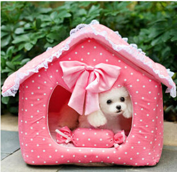 New pet dog cat cute dot bowknot house puppy kennels supplies doggy bed products dog's cats accessories nest 1pcs M L