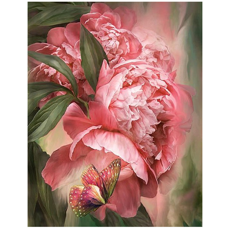 Butterfly peony Diamond Embroidery Painting Rhinestones diamond Mosaic 3D Picture Cross Stitch Pattern Home Decoration painting in Diamond Painting Cross Stitch from Home Garden
