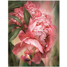 Butterfly peony Diamond Embroidery Painting Rhinestones diamond Mosaic 3D Picture Cross Stitch Pattern Home Decoration painting