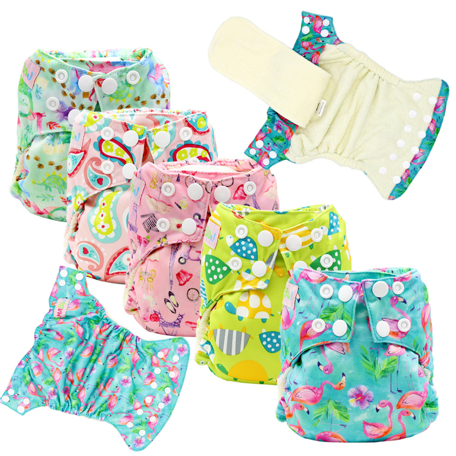 MABOJ Newborn AIO Cloth Diapers Baby Bamboo Cloth Diaper Stay-dry Solution Wateproof Comfortable All In One Nappies Dropshipping