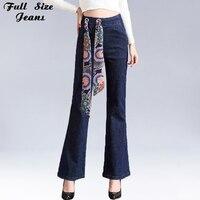Plus Size Losse Brede Been Recht Jeans 4XL 5XL 6XL lente Elastische Taille Gratis Riem Werkkleding Elegante Vrouwen Denim broek