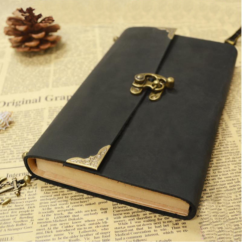 Retro travel notebook Genuine Leather button diary leather loose leaf Travel Journal Vintage European style Notepad 01601 leather notebook diary loose leaf notebook vintage travel notepad leather notepad customization office school supplies n112