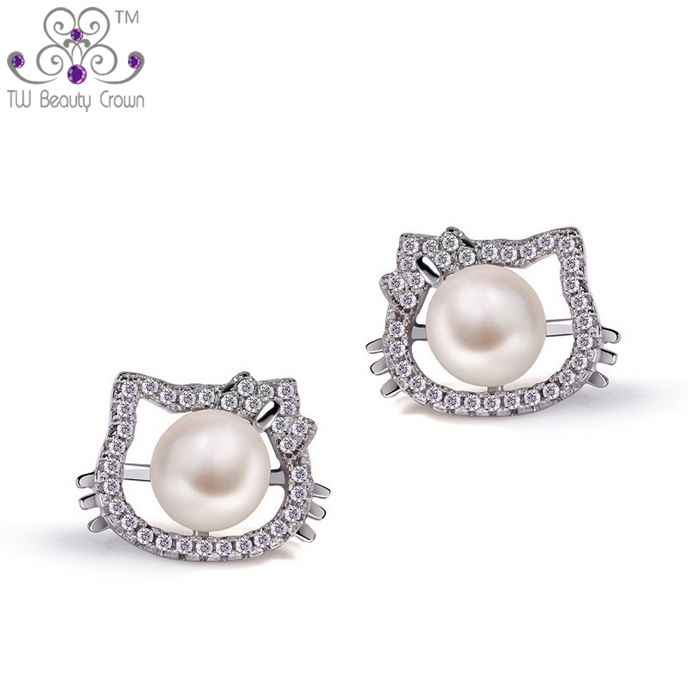 d5594b612 ... Pure Silver Cute Lovely Hello Kitty White CZ Natural Fresh Water Pearsl  Stud Earrings For Women Girls Children Jewelry on Aliexpress.com | alibaba  group