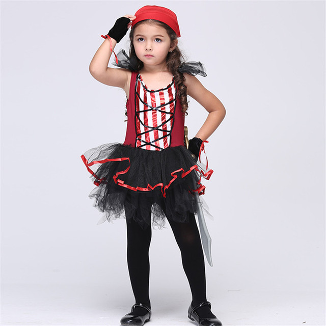 Cute Girl Pirate Costumes Children Cosplay Party Stage Performance Clothing Dancing Dresses Baby Kids Halloween