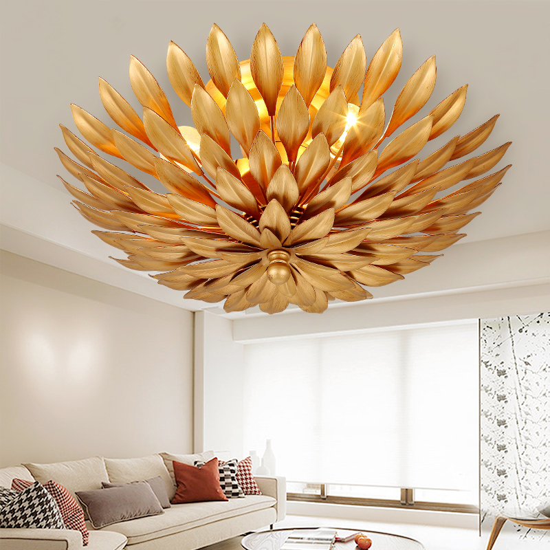 Creative Leaves Ceiling Lamps Restaurant Living Room Ceiling lighting Bedroom Iron Crafts Modern Simple Aisle Ceiling Lights
