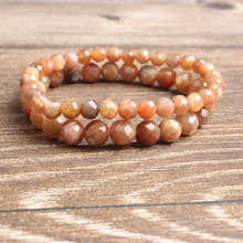 LanLi 6/8mm fashion natural Jewelry faceted sunstone beads Bracelet DIY Charms Men Strand Beads Yoga Women Bracelets